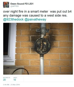 Owen Sound FD L531 Tweet on Smart Meter Fire